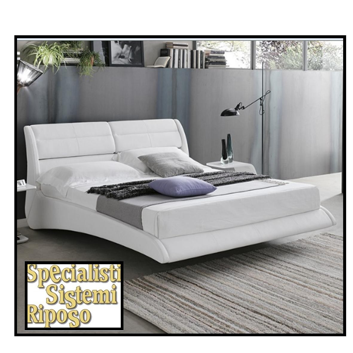 letto ponza targhet point in ecopelle bianco