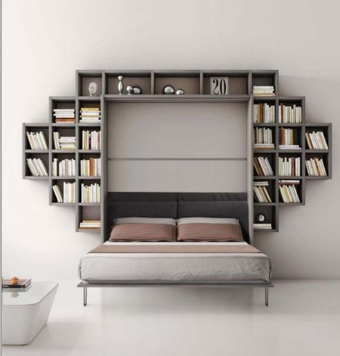 Libreria Con Letto Singolo A Scomparsa.Letto A Ribalta Con Libreria