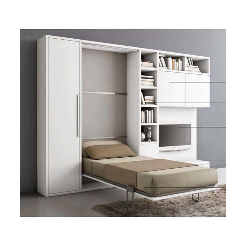 Letto a ribalta orizzontale con mobile sala - Mobile letto richiudibile ...