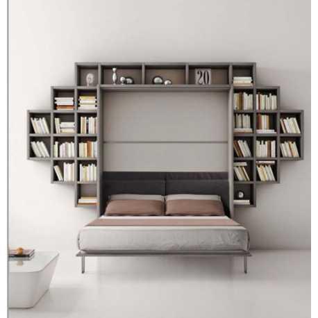 Letto a ribalta con libreria