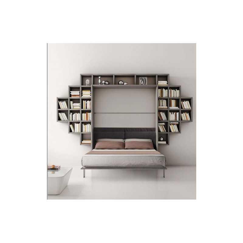 Armadio letto con libreria composizione