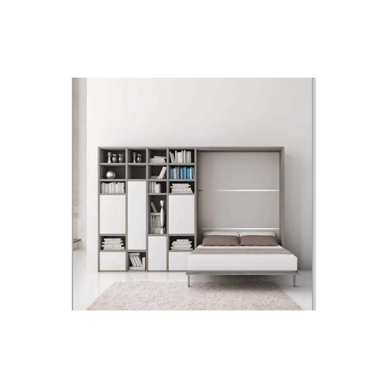 Composizione armadio letto con libreria verticale