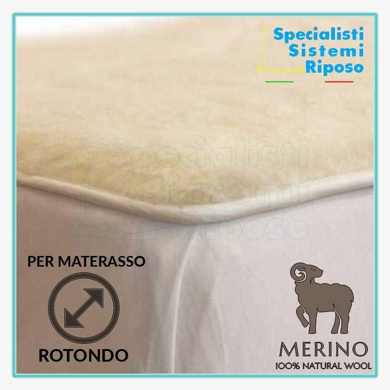 copri materasso rotondo su misura in pura lana merino con elastico