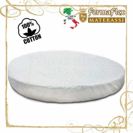 Copri materasso rotondo in cotone lavabile con fascia ed elastico