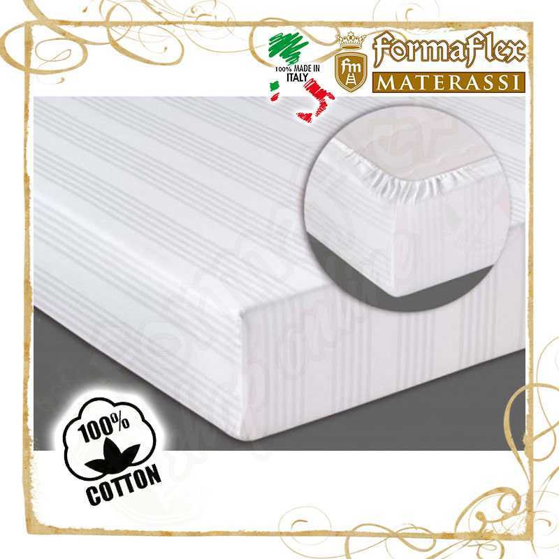 Copri materasso con angoli ed elastico in cotone bianco lavabile