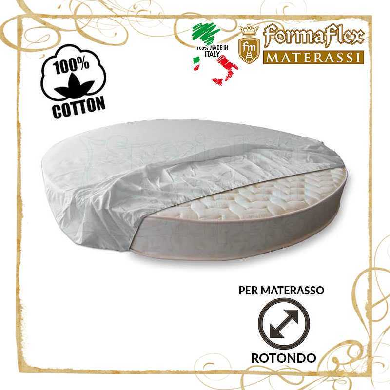 Lenzuola per materasso rotondo parte sotto con elastico su misura